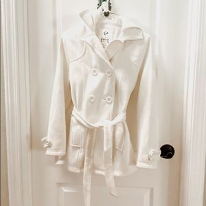 Full Tilt Fleece Trench White Hooded Jacket